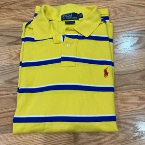 Polo Yellow and blue striped polo size large